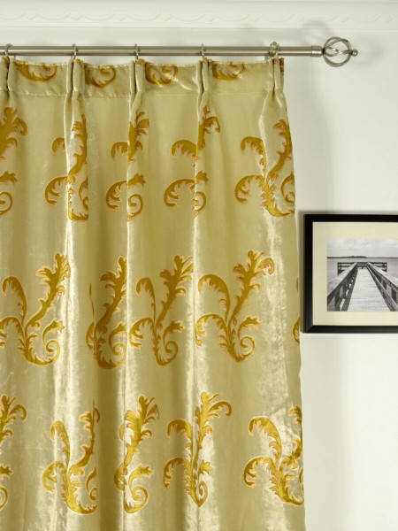 Hebe Mid-scale Scrolls Velvet Custom Made Curtains (Heading: Versatile Pleat)