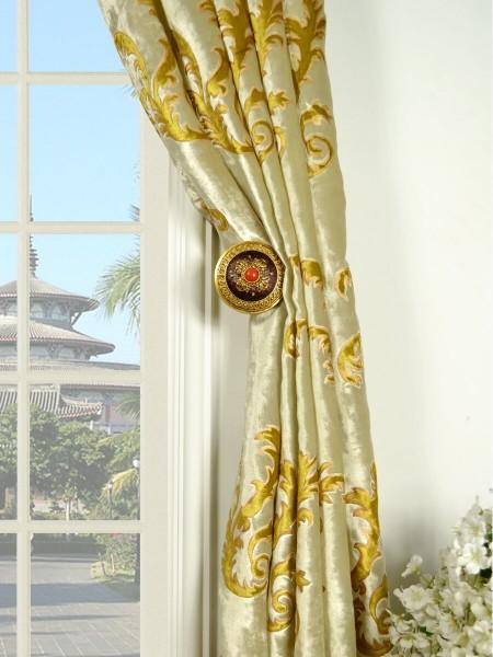 Hebe Mid-scale Scrolls Versatile Pleat Velvet Curtains Holdbacks
