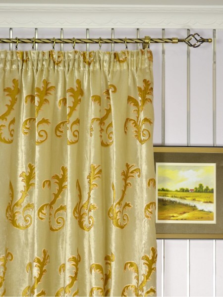 Hebe Mid-scale Scrolls Velvet Custom Made Curtains (Heading: Pencil Pleat)