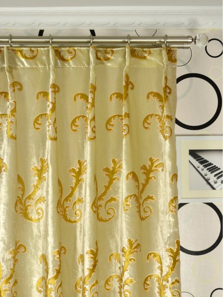 Hebe Mid-scale Scrolls Velvet Custom Made Curtains (Heading: Single Pinch Pleat)
