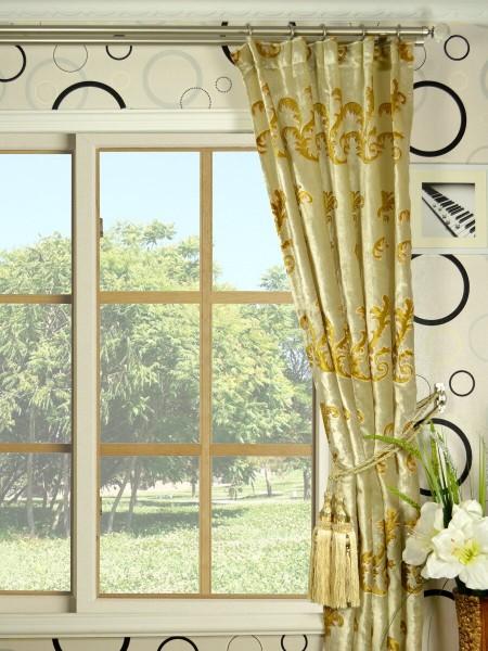 Hebe Mid-scale Scrolls Single Pinch Pleat Velvet Curtains