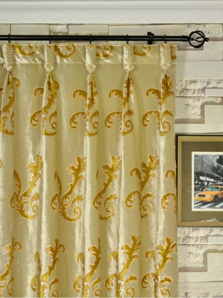 Hebe Mid-scale Scrolls Velvet Custom Made Curtains (Heading: Goblet Pleat)