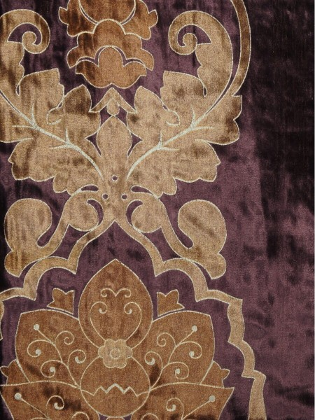 Hebe Floral Damask Double Pinch Pleat Velvet Curtains (Color: Pansy purple)