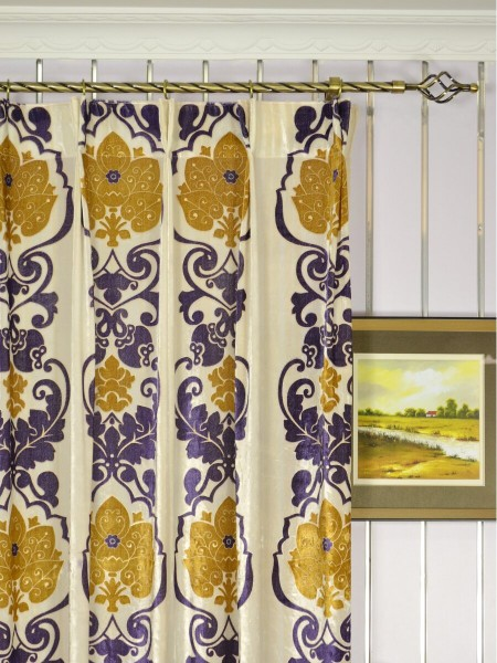 Hebe Floral Damask Double Pinch Pleat Velvet Curtains Heading Style