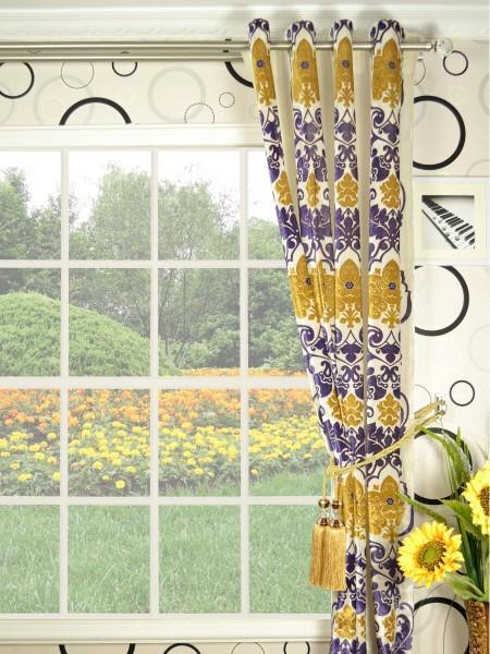 Hebe Floral Damask Grommet Velvet Curtains
