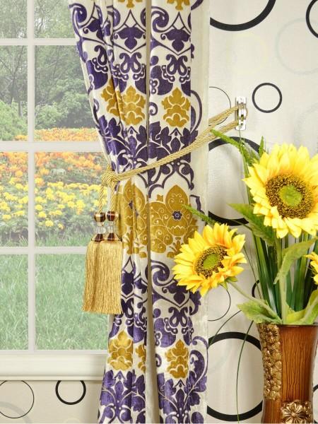 Hebe Floral Damask Grommet Velvet Curtains Tassel Tiebacks
