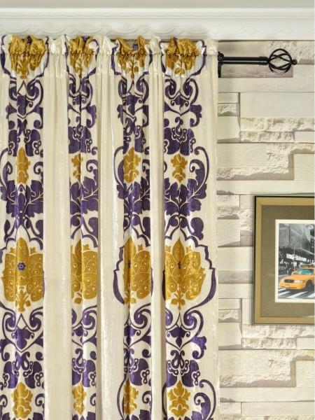 Hebe Floral Damask Rod Pocket Velvet Curtains Heading Style