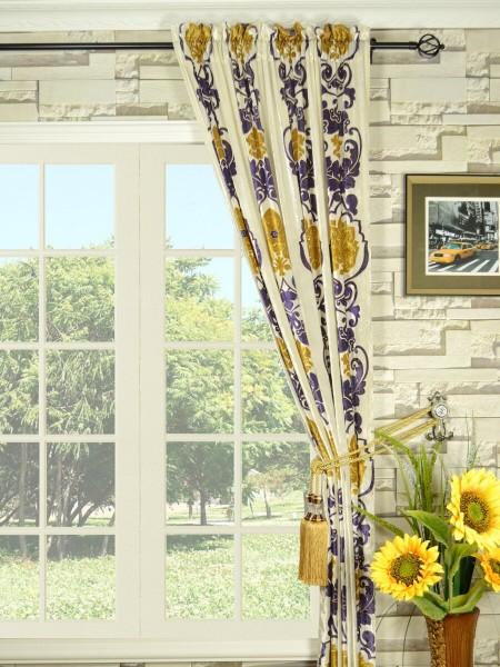 Hebe Floral Damask Rod Pocket Velvet Curtains
