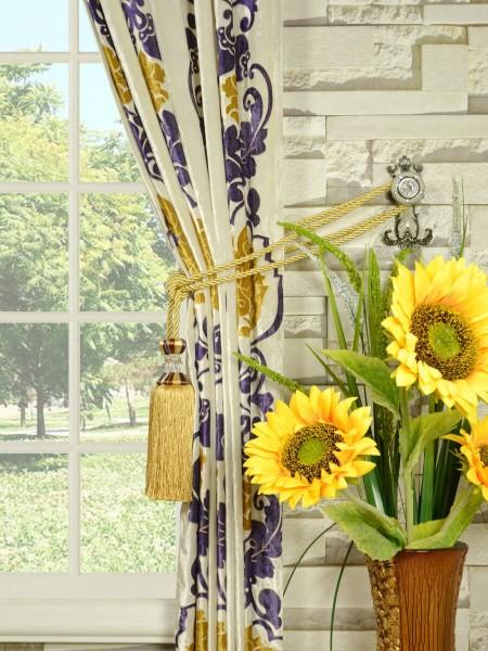 Hebe Floral Damask Rod Pocket Velvet Curtains Tassel Tiebacks