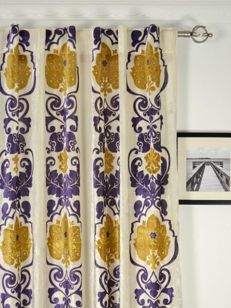 Hebe Floral Damask Back Tab Velvet Curtains Heading Style