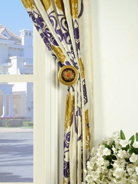 Hebe Floral Damask Back Tab Velvet Curtains Holdbacks