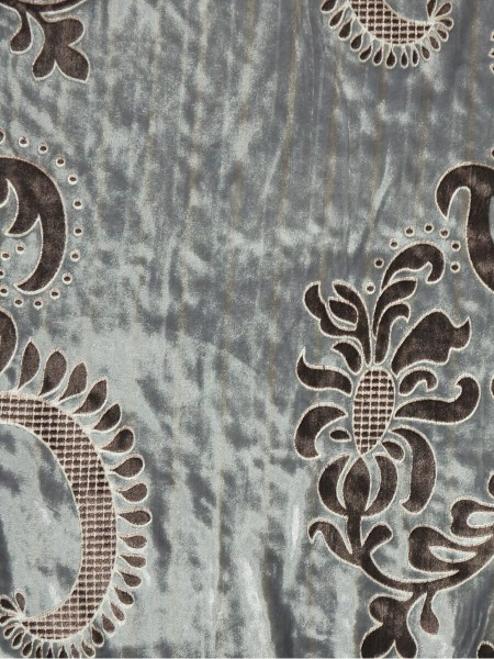 Hebe Traditional Damask Velvet Fabric Sample (Color: Ash grey)