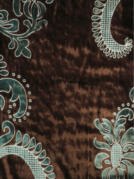 Hebe Traditional Damask Velvet Fabric Sample (Color: Rust)