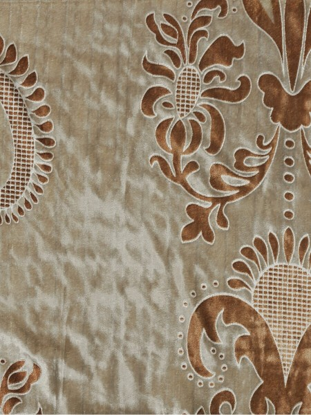 Hebe Traditional Damask Velvet Fabric Sample (Color: Burlywood)
