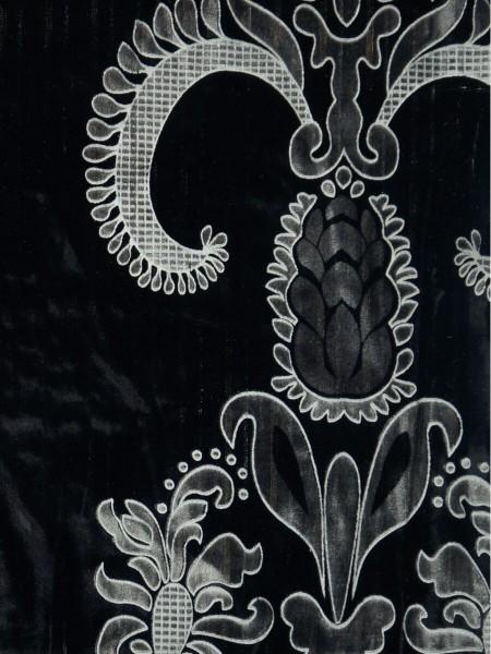 Hebe Traditional Damask Velvet Custom Made Curtains (Color: Black)
