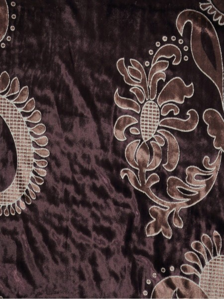 Hebe Traditional Damask Velvet Fabric Sample (Color: Pansy purple)