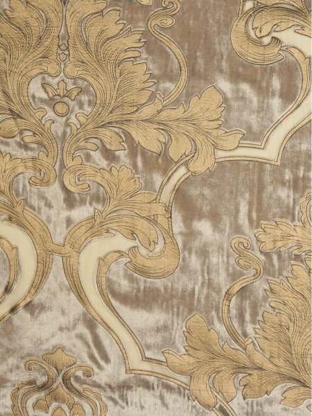 Hebe Regal Floral Damask Pencil Pleat Velvet Curtains (Color: Burlywood)