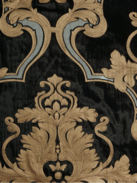 Hebe Regal Floral Damask Pencil Pleat Velvet Curtains (Color: Black)