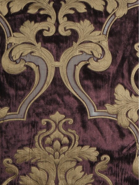 Hebe Regal Floral Damask Versatile Pleat Velvet Curtains (Color: Pansy purple)