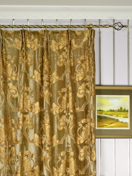 "100"" Wide Hebe Burlywood Regal Floral Damask Versatile Pleat Velvet Curtains Heading Style"