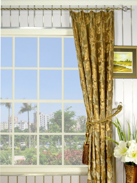"100"" Wide Hebe Burlywood Regal Floral Damask Versatile Pleat Velvet Curtains"