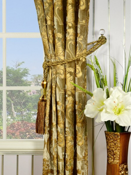 "100"" Wide Hebe Burlywood Regal Floral Damask Versatile Pleat Velvet Curtains Tassel Tieback"