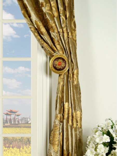Hebe Regal Floral Damask Pencil Pleat Velvet Curtains Holdbacks