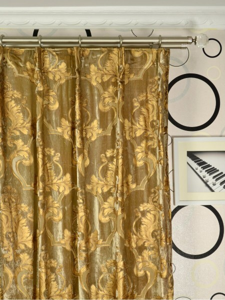 Hebe Regal Floral Damask Single Pinch Pleat Velvet Curtains Heading Style