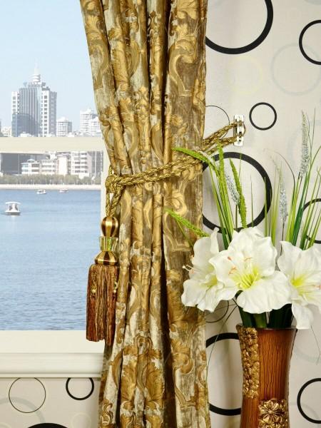 Hebe Regal Floral Damask Single Pinch Pleat Velvet Curtains Tassel Tiebacks