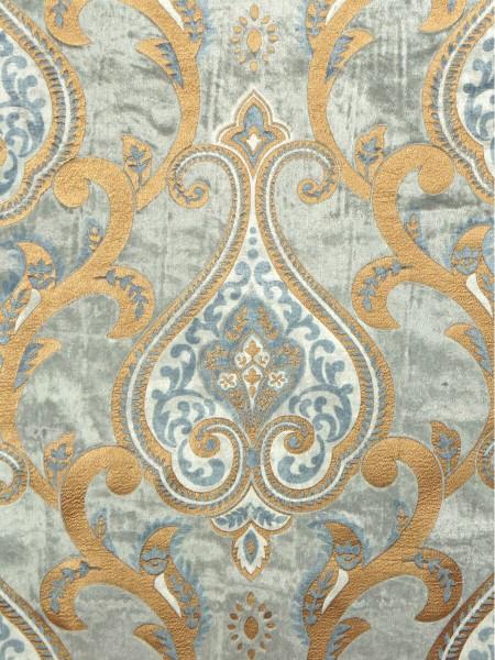 Maia Impressive Damask Velvet Fabric Sample (Color: Ash gray)