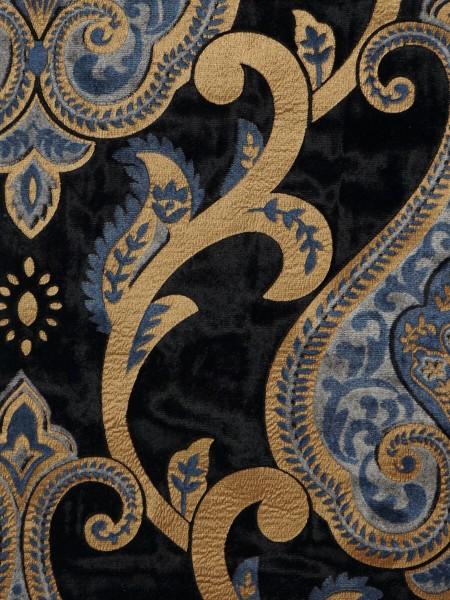 Maia Impressive Damask Velvet Fabric Sample (Color: Black )