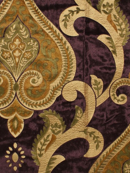 Maia Impressive Damask Velvet Fabric Sample (Color: Byzantium)