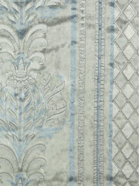Maia Antique Damask Back Tab Velvet Curtains (Color: Ash gray)
