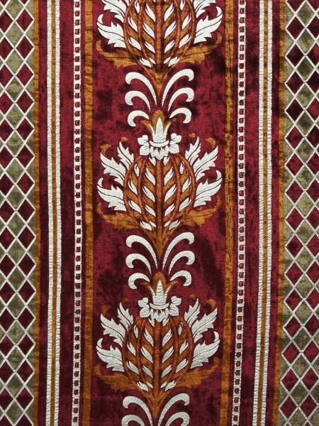 Maia Antique Damask Rod Pocket Velvet Curtains (Color: Burgundy)