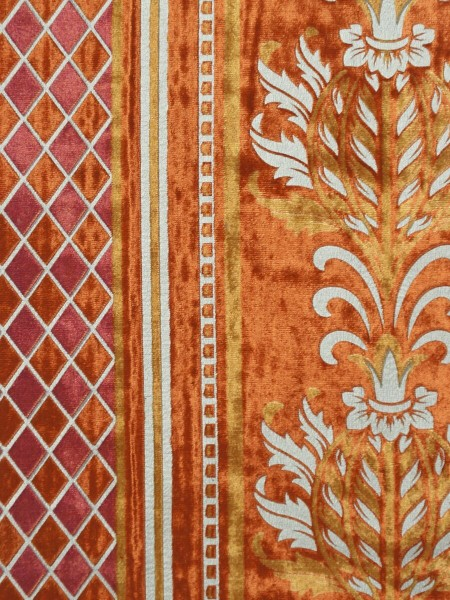 Maia Antique Damask Rod Pocket Velvet Curtains (Color: Orange)