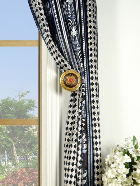 Maia Antique Damask Double Pinch Pleat Velvet Curtains Holdbacks