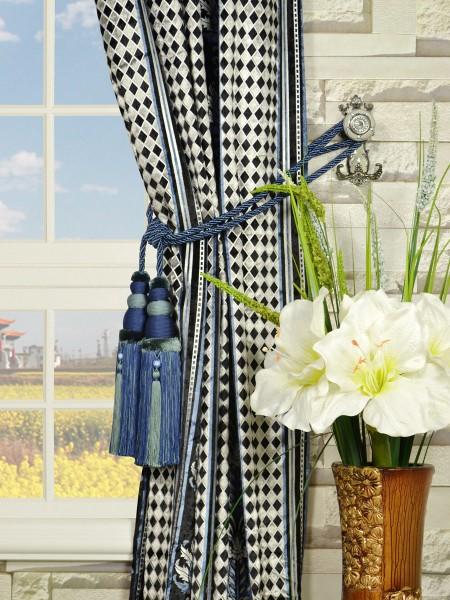 Maia Antique Damask Grommet Velvet Curtains Tassel Tiebacks