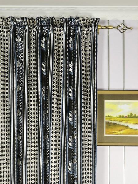 Maia Antique Damask Velvet Custom Made Curtains (Heading: Rod Pocket)