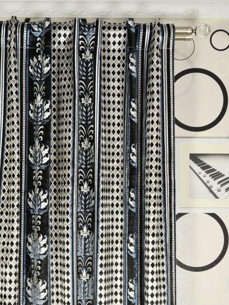 Maia Antique Damask Back Tab Velvet Curtains Heading Style