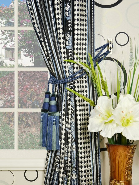 Maia Antique Damask Back Tab Velvet Curtains Tassel Tiebacks