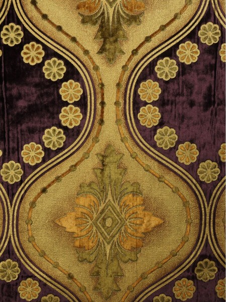 Maia Vintage Damask Goblet Pleat Velvet Curtains (Color: Byzantium)