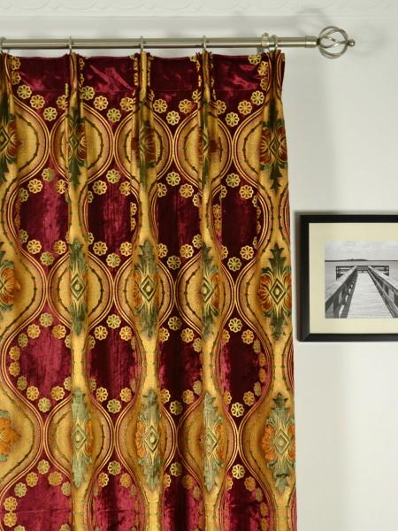 Maia Vintage Damask Velvet Custom Made Curtains (Heading: Versatile Pleat)