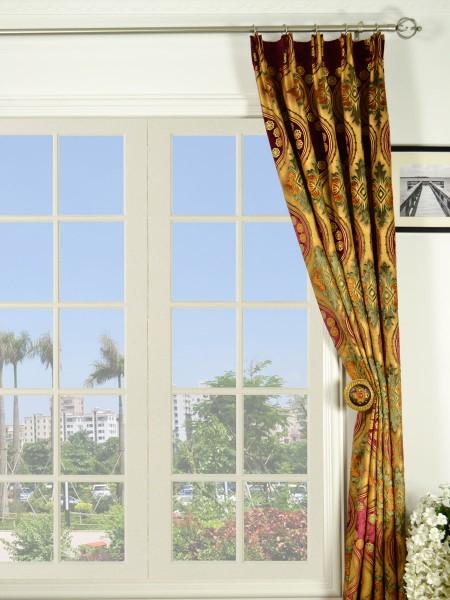 Maia Vintage Damask Versatile Pleat Velvet Curtains
