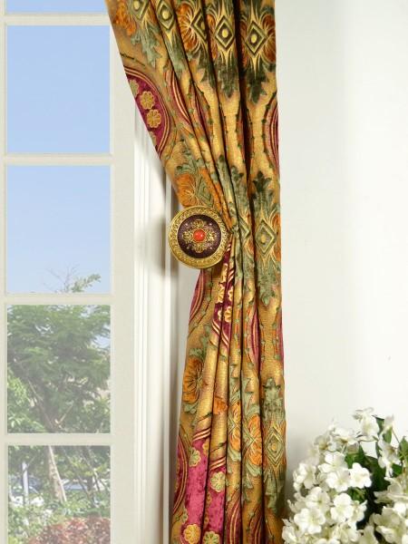 Maia Vintage Damask Versatile Pleat Velvet Curtains Holdbacks
