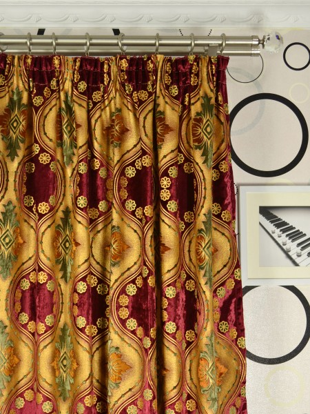 Maia Vintage Damask Pencil Pleat Velvet Curtains Heading Style
