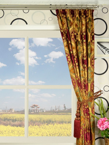 Maia Vintage Damask Pencil Pleat Velvet Curtains