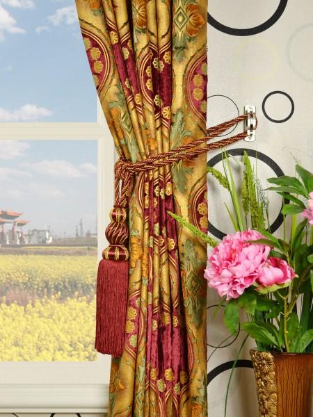 Maia Vintage Damask Pencil Pleat Velvet Curtains Tassel Tiebacks