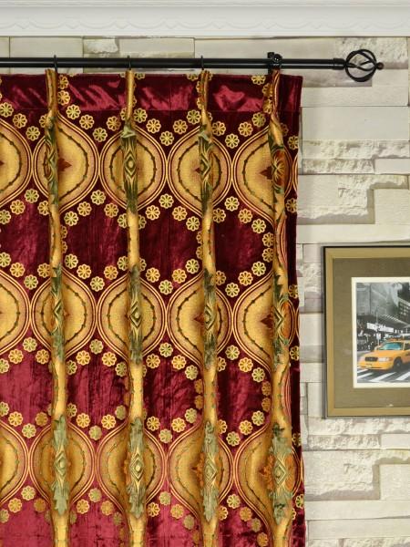 Maia Vintage Damask Velvet Custom Made Curtains (Heading: Single Pinch Pleat)