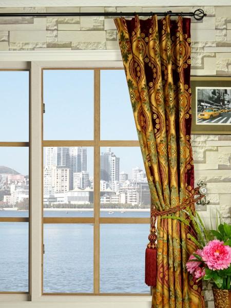 Maia Vintage Damask Single Pinch Pleat Velvet Curtains