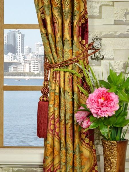 Maia Vintage Damask Single Pinch Pleat Velvet Curtains Tassel Tiebacks